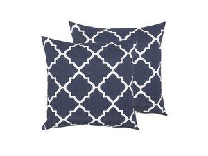 Gartenkissen 2er Set Blau Polyester Quadratisch 40 x 40 cm mit marokkanischem Muster Deko Dekokissen für Garten Terrasse Balkon Innenräume