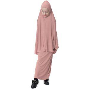 1 Stück Mädchen Muslim Abaya Kleid Mehrfarbig Maxikleid Solide Dunkelrosa L
