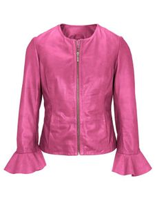 Heine Damen Lammnappalederjacke mit Volants, pink, Größe:34