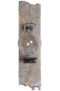 Wandkerzenhalter Glas Holz Kerzenhalter