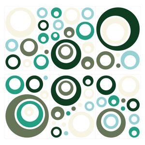 dekodino® Wandtattoo Retro Kreise blau beige orange 60 Stück Wohnzimmer Deko