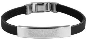Akzent 003125010074 Armband aus Echtleder und Edelstahl in Schwarz