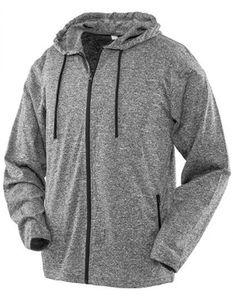 Herren Hooded Tee-Jacket - Atmungsaktiv - Farbe: Marl Grey - Größe: XL