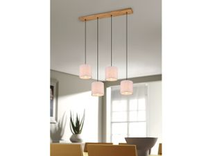 Skandinavische Balkenpendelleuchte 4 Stoffschirm Esszimmerlampe mit Holzbalken