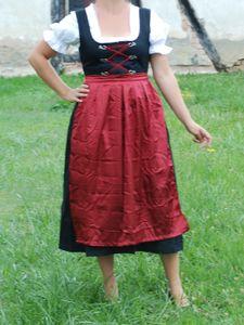Dirndl lang mit Bluse und roter Schürze - Oktoberfest - Tracht Gr. 48