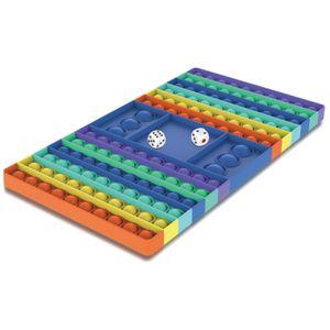 Schachbrett Regenbogenfarben Push Pop It Pop Bubble Spielzeug mit 2 Würfel ,Verwendet für Autismus, Stress Abzubauen Fidget Toy