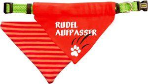 Hunde Durchzugstuch (Fb: rot-orange) (Gr.L - 28 x 20 cm) Rudelaufpasser