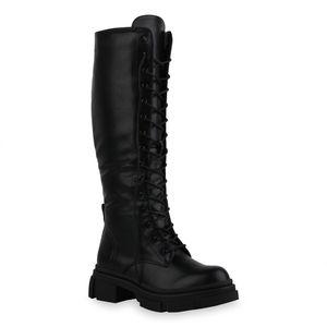 Mytrendshoe Damen Stiefel Leicht Gefüttert Schnürstiefel Schnürer Blockabsatz 835431, Farbe: Schwarz, Größe: 37