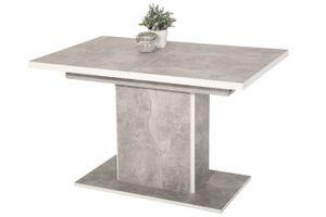 Säulentisch Alice ausziehbar Nachbildung Betonoptik, 120-160x80x76cm