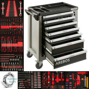 AREBOS Werkzeugwagen 7 Fächer Werkstattwagen gefüllt mit Werkzeug Werkzeugschrank KFZ - direkt vom Hersteller