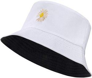 Fischerhut Uni Reversibel Baumwolle Gänseblümchen Bucket Hat für Wandern Camping Strand 56-58 cm