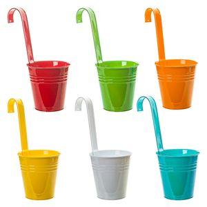 6er Set Hängetopf Pflanztopf Übertopf mit Haken Bunt Zink Blumentopf Vase Balkon Garten