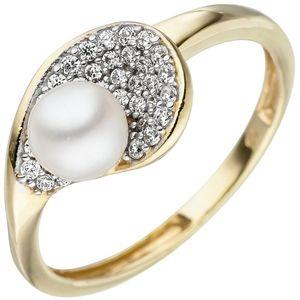 JOBO Damen Ring 58mm 375 Gold Gelbgold bicolor 1 Süßwasser Perle 36 Zirkonia Perlenring
