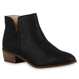 Mytrendshoe Damen Stiefeletten Ankle Boots 835515, Farbe: Schwarz, Größe: 39