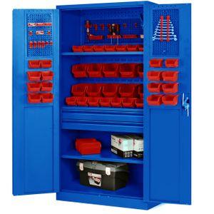 Werkzeugschrank Werkstattschrank mit Schubladen Flügeltüren 3 Fachböden Pulverbeschichtung 185 cm x 92 cm x 50 cm (blau)