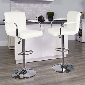 2er Barhocker SET mit Armlehnen Lehne Belastbar Chrom Drehstuhl Kunstleder bis 120kg Höhenverstellbar Weiß