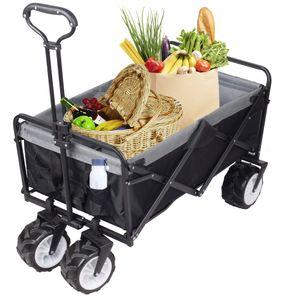 Bollerwagen Faltbar Dach Handwagen Klappbar Transportkarre Gerätewagen Handwagen Gartenwagen Schwarz / Grau