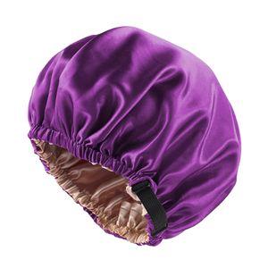 Seide Schlafmütze Atmungsaktive Nachtmütze Kopfbedeckung für Damen Mädchen 36CM Lila