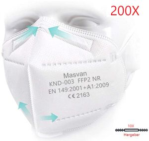 FFP2 Maske  Mundschutzmaske Atemschutzmaske Gesichtschutzmaske 5-lagiger (200 Stück )