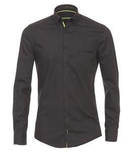 Größe L Venti Hemd Schwarz Uni mit neongelbem Besatz Langarm Slim Fit Tailliert Geschnitten verdeckter Button-Down-Kragen 88% Premium Baumwolle 12% Elasthan