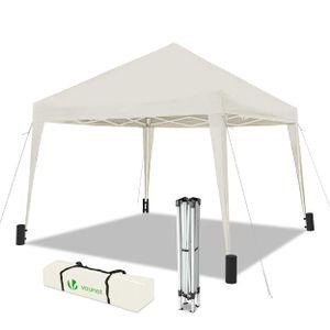 VOUNOT Faltpavillon 3x3m, mit 4 Sandsäcke, Pop Up, UV-Schutz 50+, Weiß