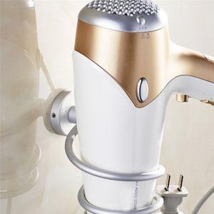 Wandmontage Haartrocknerhalter, Fönhalter, mit Stecker Halter, Badezimmer Wohnzimmer Barbershop Föhn Halterung, aus hochwertigem Aluminum
