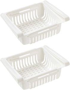 Kühlschrank Schublade Organizer Ausziehbare Kühlschrank Regal Halter Aufbewahrungsbox Kühlschrank Partition Layer Home Organizer (2 Stück, Weiß)