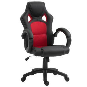 HOMCOM Bürostuhl Gaming-Stuhl Computerstuhl mit Wippenfunktion ergonomisch Schreibtischstuhl höhenverstellbar Schwarz+Rot 71 x 61 x 108-118 cm