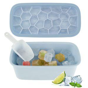 Eiswürfelform Eisbox mit Deckel, Silikon Eiswuerfel Form Kunststoff Eiswürfelbox, Ice Cube Tray mit EiswürfelSchaufel und Deckel,26 Fach