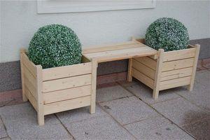 Blumenbank Bodensee / 2 Pflanzkübel mit Sitzbank 160x50x45cm natur
