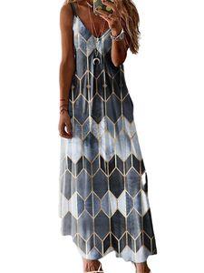 Frauen Geometrischer Druck Ärmellose Maxi Long Dress Party Plus Size,Farbe: Grau,Größe:M