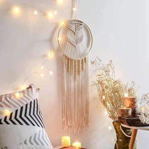 Handmade Bohemian Dreamcatcher Makramee Baumwolle Wandbehang Dreamcatcher Wanddekoration für Vintage Hochzeit Home Geschenk zum Valentinstag Geburtstag