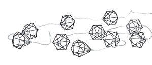 10er Lichterkette LED Metall Schwarz Polygon Diamant Timer-Funktion Licht Beleuchtung Deko Industrial