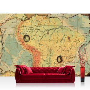 Vlies Fototapete no. 4313  - 368X254 cm Städte & Länder Tapete Landkarte Karte Kontinent Vintage Globus Atlas Reise gelb