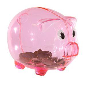 Sparschwein transparent rosa aus Kunststoff Spardose 13 x 10 cm