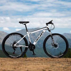 26 Zoll Mountainbike 21 Gang-Schaltung Fahrradrahmen aus kohlenstoffhaltigem Lackierte Scheibenbremse Federgabel Mountainbike Weiß/Schwarz