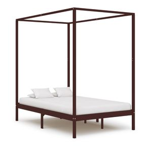 Hochwertigen Himmelbett-Gestell Bettgestell Himmelbett-Bettrahmen für Schlafzimmer Jugendbett Dunkelbraun Massivholz Kiefer 140 x 200 cm