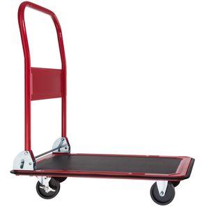 tectake Plattformwagen mit Bremsen - rot, 150 kg