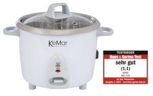 KeMar Kitchenware KRC-100 Reiskocher | Kompakt | 0,6L | Edelstahltopf | Glasdeckel | BPA-frei und ohne Aluminium
