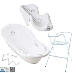 Tega Baby ® Baby Badewanne mit Gestell und Verschiedene Sets mit Babybadewannen + Ständer + Abfluss + Badewannensitz 0-12 Monate, Motiv:Eule - weiß, Set:4 Set Weiß