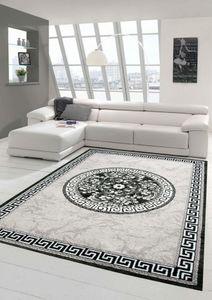 Moderner Teppich Designer Teppich Orientteppich mit Glitzergarn Wohnzimmer Teppich mit Bordüre und Kreismuster in Grau Anthrazit Creme Größe - 120x160 cm