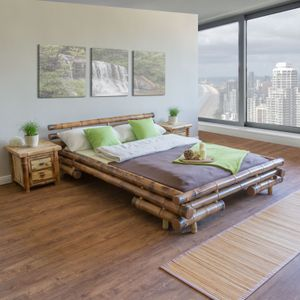 Homestyle4u 34, Bambusbett 200x200 cm, Bettgestell mit Lattenrost, Bambus Braun