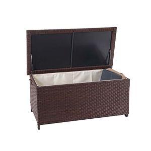 Poly-Rattan Kissenbox HWC-D88, Gartentruhe Auflagenbox Truhe  Premium braun, 51x100x50cm 170l