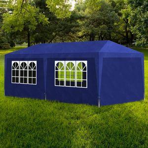 Luxus Partyzelt Festzelt, Pavillon Zelt wasserabweisend, Gartenzelt UV-Schutz, 3 x 6 m Blau|1086
