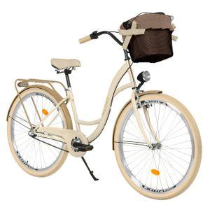Milord Komfort Fahrrad Mit Korb Damenfahrrad, 28 Zoll, Creme-Braun, 3 Gang Shimano