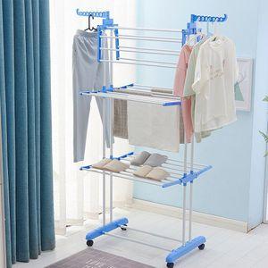 Wäscheständer Kleiderstange Wäscheturm Wäschetrockner mit Flügel klappbar Mobil 4 Ebenen Blau und weiß