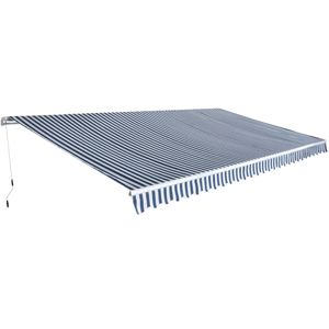 GelenkarmMarkise Handbetrieben, Balkonmarkise ,Sonnenschutz für Terrasse 600 m Blau und Weiß