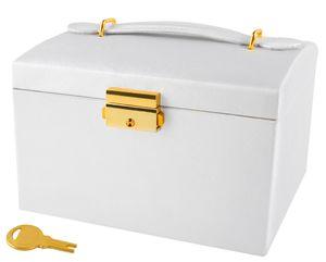 Schmuckkästchen Koffer 3 Farben Abschließbar Spiegel Tragegriff 2 Schubladen  6347 , Farbe:Beige-beige