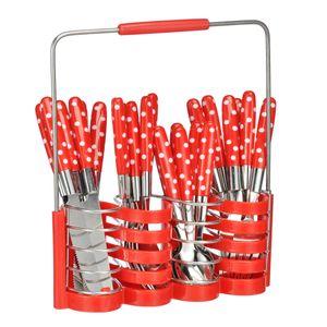 Besteck Set - Edelstahl - Kunststoffgriff - 24-teilig - rot