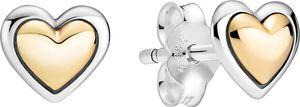 Pandora Moments Ohrstecker 299389C00 Domed Golden Heart Silber 925 Gold 14 Karat